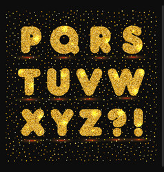 gold alphabet in metallic style vector image