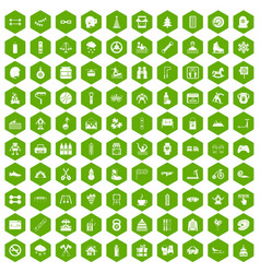100 children activities icons hexagon green vector