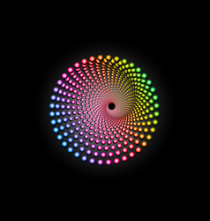 3d colorful halftone dots circle spiral pattern vector image