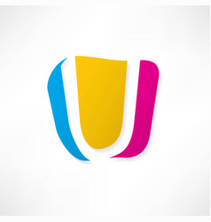 abstract icon based on the letter u vector image