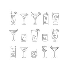 Alcohol drinks and cocktails icon flat set vector