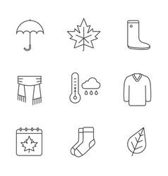 Autumn season linear icons set vector