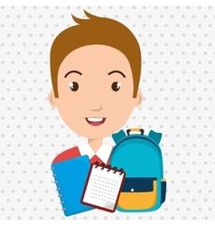 Bag student notebook notepad vector
