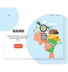 bank website landing page design template vector image