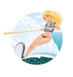 Beautiful waterskier girl on vector