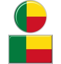Benin round and square icon flag vector image