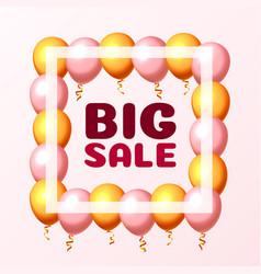 big sale balloon market frame on pink vector image