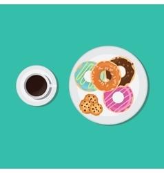 black coffee donuts and cookies breakfast vector image