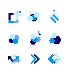 Blue shape logo icon set vector image