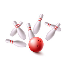 bowling ball flying into group pins realistic vector image