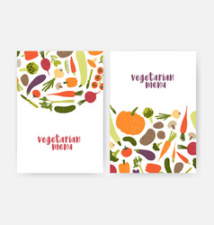 bundle of vegan menu cover templates decorated vector image
