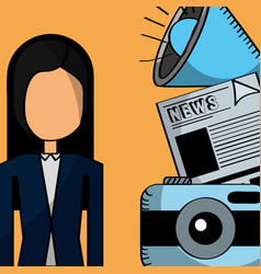 businesswoman camera news megaphone communication vector image