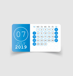Calendar july 2019 year in paper sticker with vector