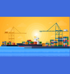 Cargo sea port with cargo freight ships and vector