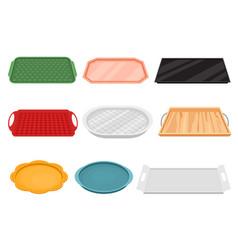 cartoon color empty food tray icon set vector image