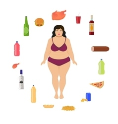 Cartoon fat woman and unhealthy food vector