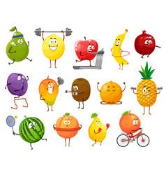 Cartoon fruits sportsmen characters set vector