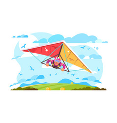 cartoon man flying on hang glider poster vector image