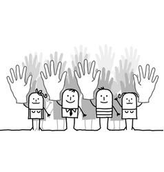 Cartoon voting group of people vector