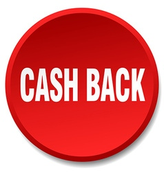 Cash back red round flat isolated push button vector
