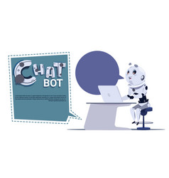 Chat bot cute robot use laptop computer template vector