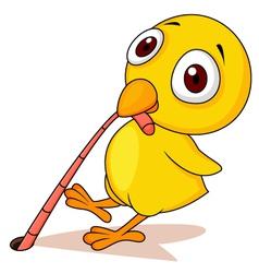 Chicken with worm cartoon vector