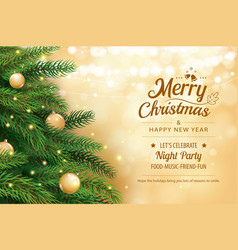 christmas greeting card with tree and gold blur vector image