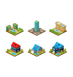 city buildings set urban landscape private real vector image