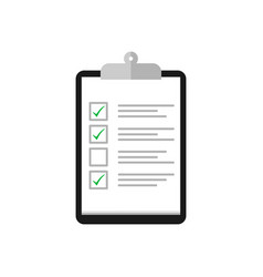 clipboard with cheklist and check mark in flat vector image