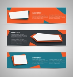 Collection banners with abstract design pointers vector image