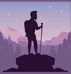color night landscape silhouette of climber man at vector image