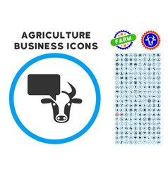 Cow opinion rounded icon with set vector