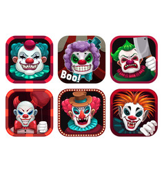 creepy clown app icons set gui assets vector image