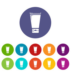 creme tube icons set color vector image