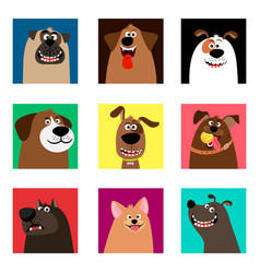 Cute comic puppy heads vector