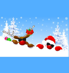 Cute santa and deer with glasses vector