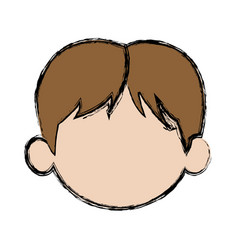 Default little face boy cute child vector