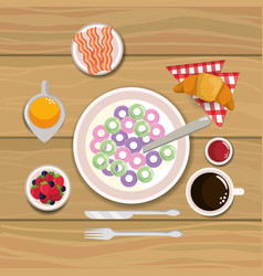 Delicious cereal with bacon and oranges juice vector