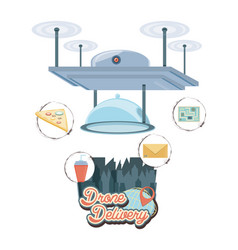 Drone delivery service with tray and cityscape vector