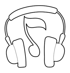 Earphones icon outline style vector