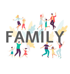 family big letters with happy people dancing flat vector image