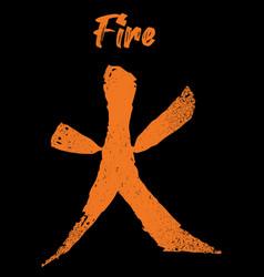 Feng shui chinese element fire grunge texture vector