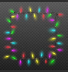 festive square frame christmas lights garland vector image