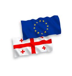 Flags european union and georgia on a white vector