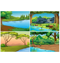 four scenes of forests vector image