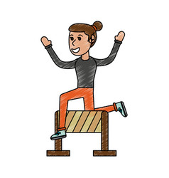 Girl jumping over hurdle vector