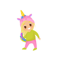girl playing and having fun in a unicorn costume vector image