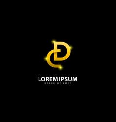 Gold letter d logo dc letter design with golden vector