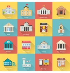 Government buildings icons set with long shadow vector image