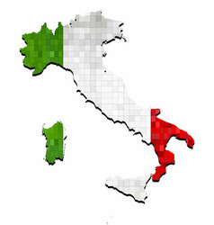 grunge italy map with flag inside vector image